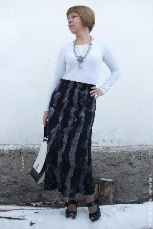 """Юбки ручной работы. Ярмарка Мастеров - ручная работа. Купить Валяная юбка """"Ночь темна"""". Handmade. Черный, теплая одежда"""