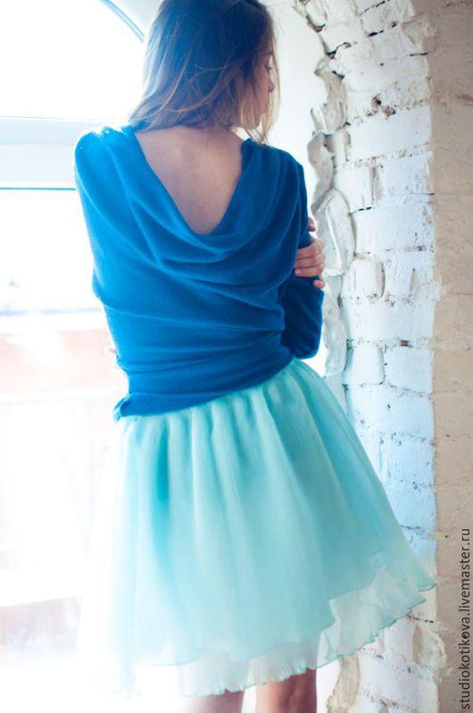 Юбки ручной работы. Ярмарка Мастеров - ручная работа. Купить Шелковая юбка-плиссе. Handmade. Мятный, плиссировка, вискоза