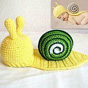 Работы для детей, ручной работы. Ярмарка Мастеров - ручная работа Улитка для фотосессии новорожденных. Шапочка для новорожденного желтый. Handmade.