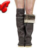 Обувь ручной работы handmade. Livemaster - original item PERLA grey / high sheepskin winter boots / custom made. Handmade.