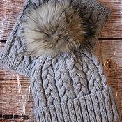 Аксессуары handmade. Livemaster - original item Knitted winter hat with lapel and Snood. Handmade.