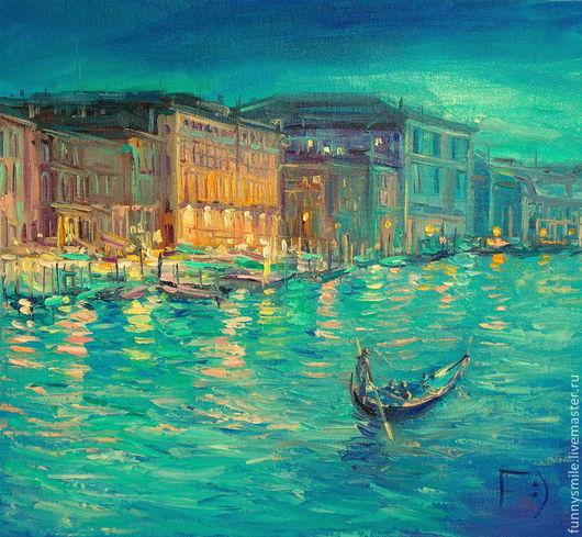 Пейзаж ручной работы. Ярмарка Мастеров - ручная работа. Купить Картина маслом на холсте. Изумрудный вечер в Венеции.. Handmade.