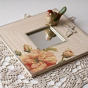 """Для дома и интерьера ручной работы. Ярмарка Мастеров - ручная работа зеркало """"пионы"""" с бабочкой. Handmade."""