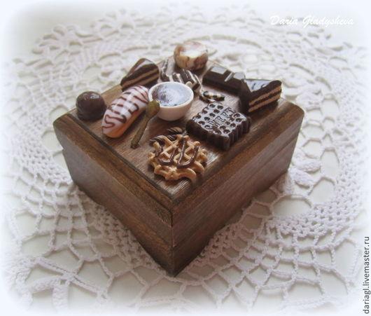 """Персональные подарки ручной работы. Ярмарка Мастеров - ручная работа. Купить Шкатулка со сладостями """"Кофе с шоколадом"""". Handmade. Коричневый"""