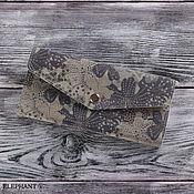 Сумки и аксессуары ручной работы. Ярмарка Мастеров - ручная работа Кошелек кожаный много карт (серый с узорами). Handmade.