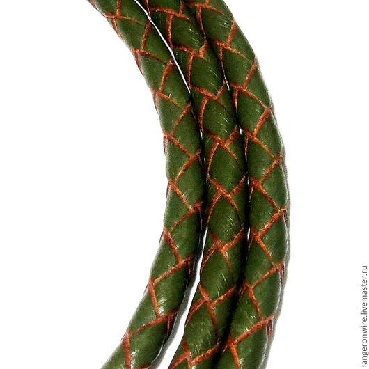 Для украшений ручной работы. Ярмарка Мастеров - ручная работа. Купить Шнур кожаный плетеный 4,0 мм. Цвет - хаки. Handmade.