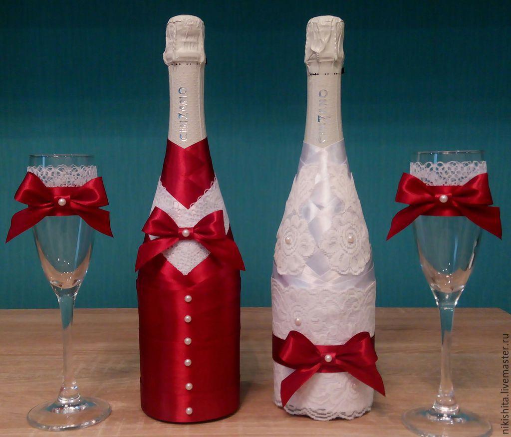 украшение свадебных бокалов и бутылок фото куртка-трапеция исполняется дизайнерами