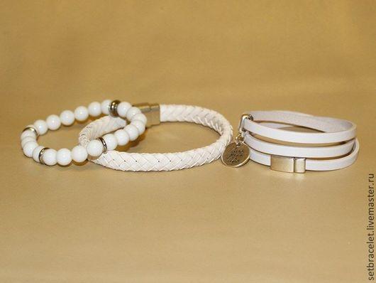 Браслеты ручной работы. Ярмарка Мастеров - ручная работа. Купить Кожаные браслеты из кожи белой: плетенный10мм,плоский  5мм, агат. Handmade.