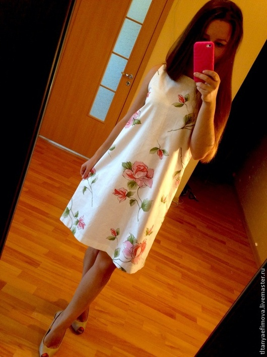Платья ручной работы. Ярмарка Мастеров - ручная работа. Купить Платье-трапеция Розовый букет. Handmade. Цветочный, цветочный принт