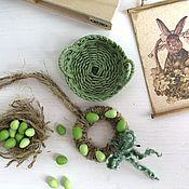 Куклы и игрушки handmade. Livemaster - original item Basket, wreath, picture-Easter decor for a dollhouse -. Handmade.