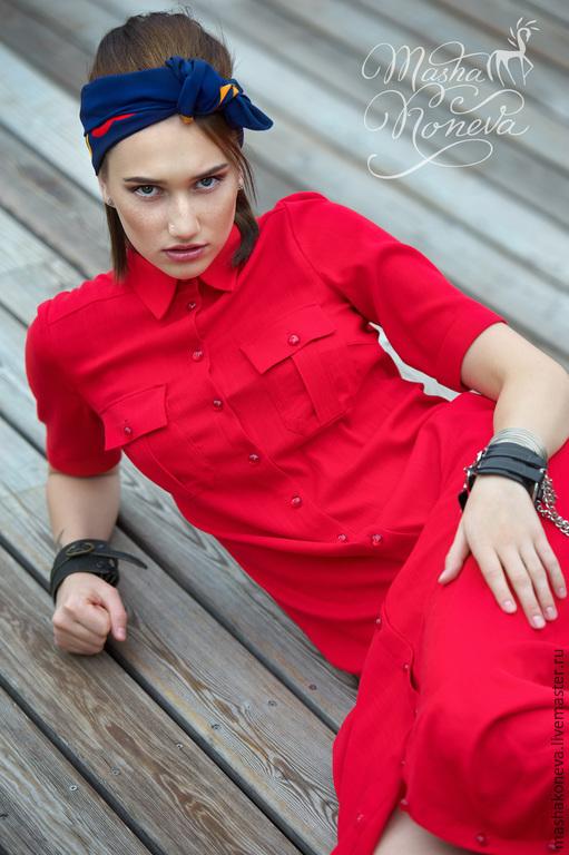 Платья ручной работы. Ярмарка Мастеров - ручная работа. Купить Платье-рубашка из льняного полотна. Handmade. Ярко-красный, лен