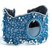 """Украшения ручной работы. Ярмарка Мастеров - ручная работа Браслет """"Синие кружева"""" (браслет с кружевом, синий, джинса). Handmade."""
