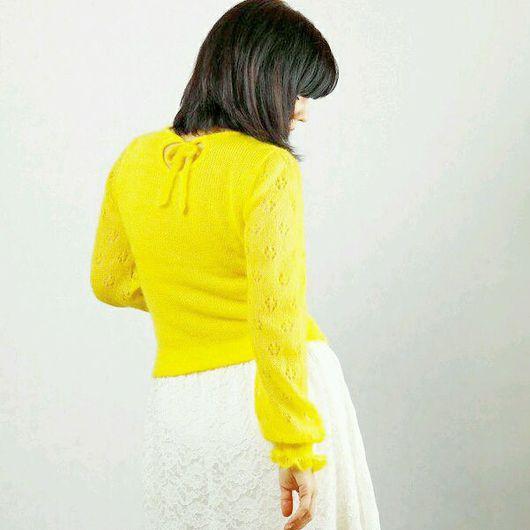 Кофты и свитера ручной работы. Ярмарка Мастеров - ручная работа. Купить Мохеровая жёлтая кофточка с ажурными пышными рукавами. Handmade.