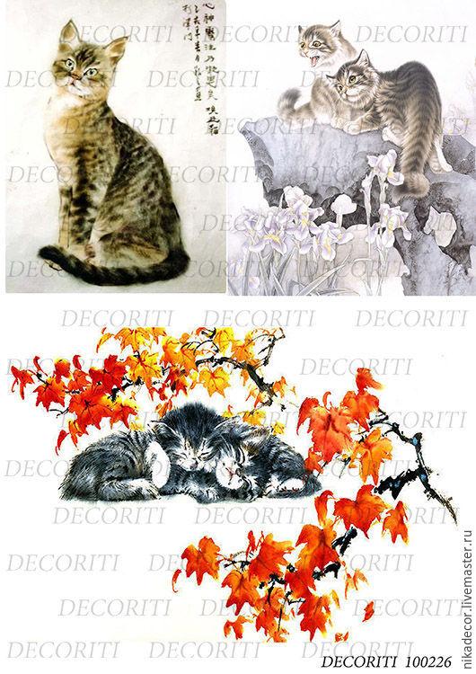 Декупаж и роспись ручной работы. Ярмарка Мастеров - ручная работа. Купить Японские акварели с кошками (D100226) - рисовая бумага, А4. Handmade.