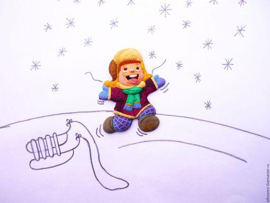 брошь детская `Первый снег`