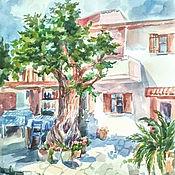 Картины и панно ручной работы. Ярмарка Мастеров - ручная работа Дворик на Кипре.. Handmade.