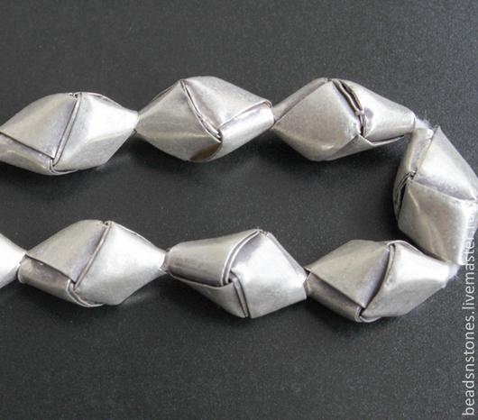 Для украшений ручной работы. Ярмарка Мастеров - ручная работа. Купить Бусина оригами SPP389 мал, серебро. Handmade. Серебряный