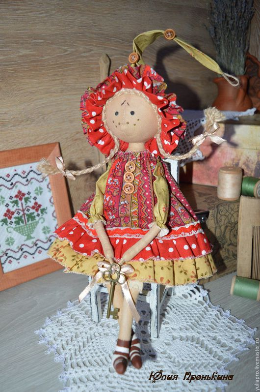 """Куклы тыквоголовки ручной работы. Ярмарка Мастеров - ручная работа. Купить Гномочка """"Горчичка"""" - текстильная куколка - оберег домашнего очага. Handmade."""