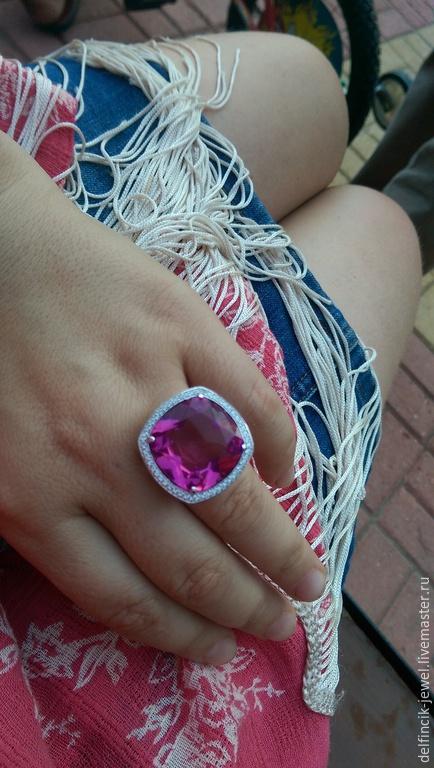 Кольца ручной работы. Ярмарка Мастеров - ручная работа. Купить Крупный серебряный перстень с султанитом. Handmade. Разноцветный, украшения с султанитом
