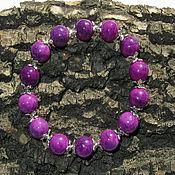 """Украшения ручной работы. Ярмарка Мастеров - ручная работа Браслет """" Фиолетовые ягоды """" из камней , на резинке. Handmade."""