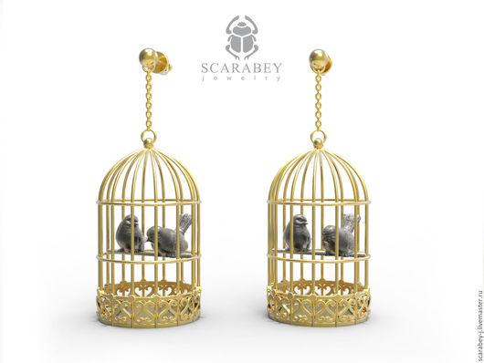 """Серьги ручной работы. Ярмарка Мастеров - ручная работа. Купить Серьги """"Птички в клетке"""" из серебра. Handmade. Золотой, птички в клетке"""