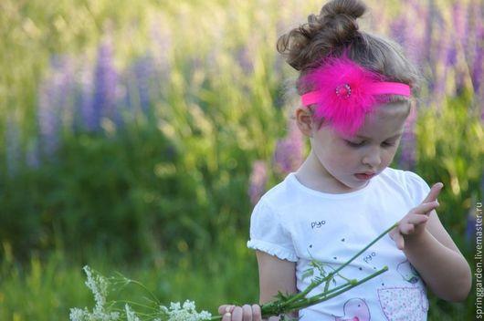 Ярко розовяа повязка для маленькой принцессы