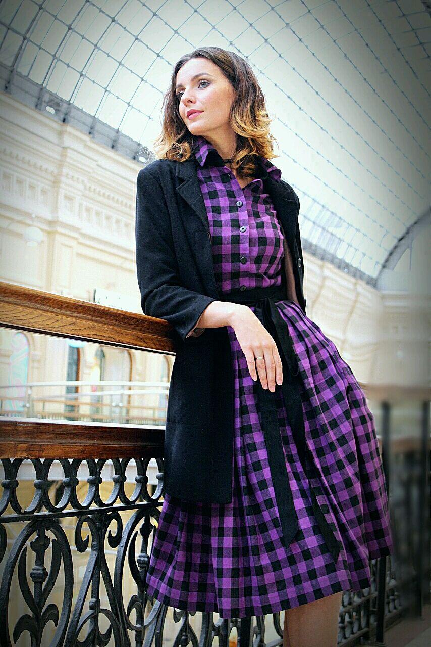 Cozy cage ' Lavender violet'. T-shirt dress, Dresses, Moscow,  Фото №1