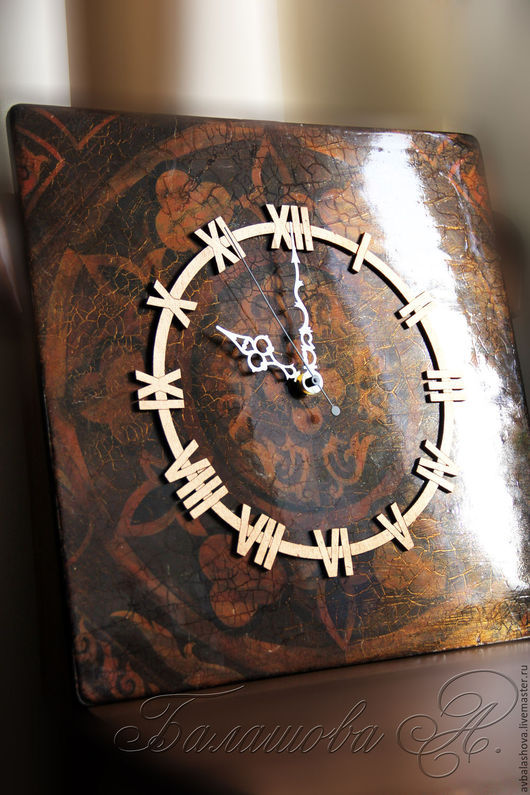 """Часы для дома ручной работы. Ярмарка Мастеров - ручная работа. Купить Большие часы """"Монументальная классика"""". Handmade. Коричневый"""