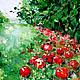 Пейзаж ручной работы. Яблоки. K&ART. Интернет-магазин Ярмарка Мастеров. Красный, пейзаж с яблоками, гостиная, масло