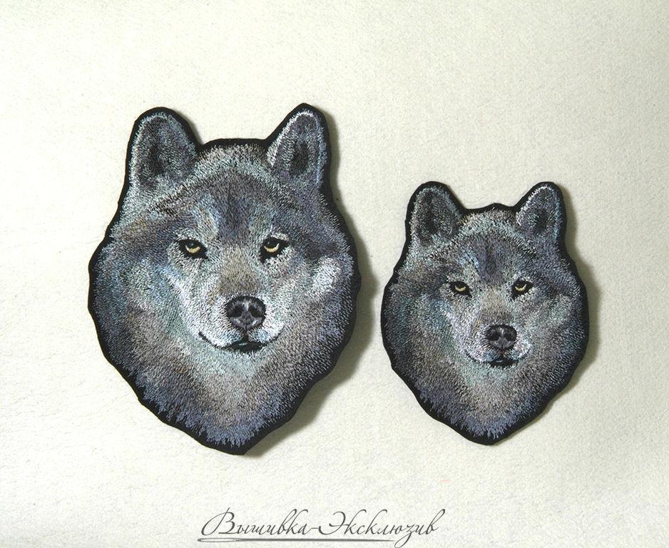 Машинная вышивка волк