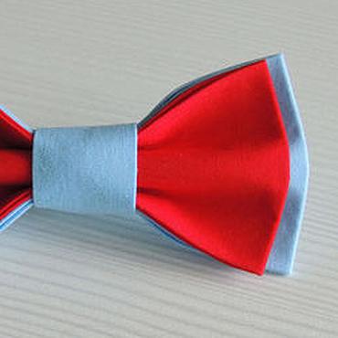 Аксессуары ручной работы. Ярмарка Мастеров - ручная работа Бабочка галстук красно-голубая, хлопок. Handmade.