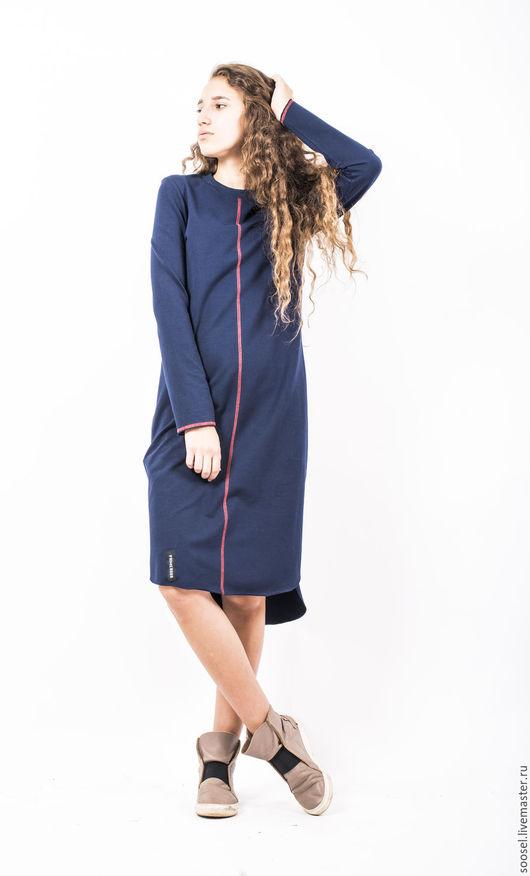 """Платья ручной работы. Ярмарка Мастеров - ручная работа. Купить Платье """"Лайн"""". Handmade. Тёмно-синий, удобное платье, креатив"""