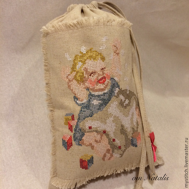 """Винтажный льняной мешочек для детей """"Маме убираться"""", Мешочек для крестильного набора, Москва,  Фото №1"""