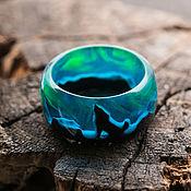 Украшения handmade. Livemaster - original item Ring with a wolf made of wood and epoxy resin