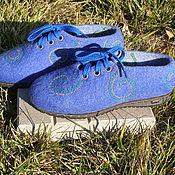 """Обувь ручной работы. Ярмарка Мастеров - ручная работа Туфли валяные""""Синева небесная"""". Handmade."""