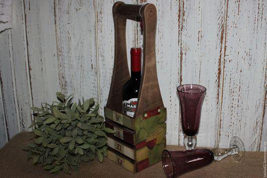 Подарочное оформление бутылок ручной работы. Ярмарка Мастеров - ручная работа. Купить Короб для бутылки. Handmade. Бордовый, Декупаж