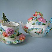 Посуда ручной работы. Ярмарка Мастеров - ручная работа Чайник Сладка-ягода с чайной парой.. Handmade.