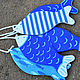 Детская ручной работы. Декоративные рыбки для оформления детской комнаты. Льняные ряды. Ярмарка Мастеров. Тёмно-синий, рыбки для декора
