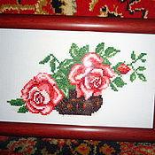 Картины и панно ручной работы. Ярмарка Мастеров - ручная работа Розы в горшочке. Handmade.