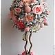 """Топиарии ручной работы. Заказать Топиарий """"Нежность роз"""".. Татьяна-С  (singurinka). Ярмарка Мастеров. Топиарий, цветы искусственные, бусины"""