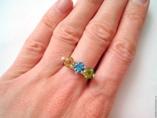 Кольца ручной работы. Ярмарка Мастеров - ручная работа. Купить Серебряное кольцо с самоцветами 925 проба. Handmade. Кольцо