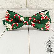 Аксессуары ручной работы. Ярмарка Мастеров - ручная работа Галстук бабочка Санта Клаус, темно-зеленая. Handmade.