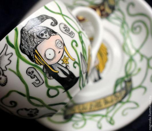 """Сервизы, чайные пары ручной работы. Ярмарка Мастеров - ручная работа. Купить Чайная пара """"Lenore"""". Handmade. Ленор, gothic"""