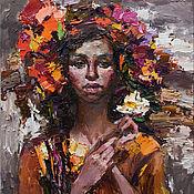 Картины и панно handmade. Livemaster - original item Woman with flowers - Original oil female portrait painting. Handmade.
