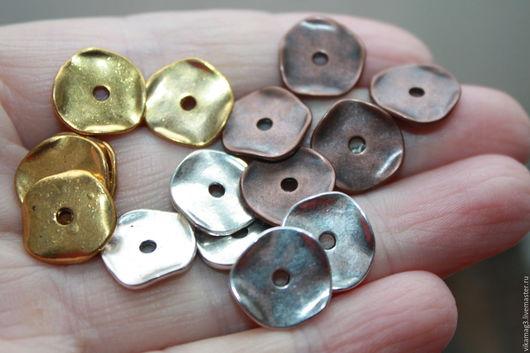 Для украшений ручной работы. Ярмарка Мастеров - ручная работа. Купить Чипсы 3 цвета, 13 мм медь, серебро, золото. Handmade.