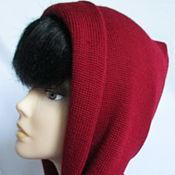 Аксессуары handmade. Livemaster - original item Copy the work of Hood with long scarf Merino Bordeaux. Handmade.