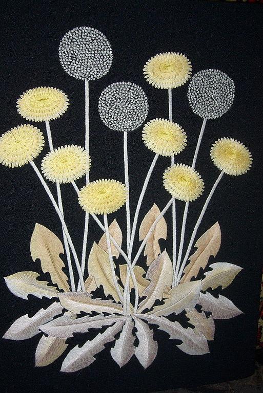 """Картины цветов ручной работы. Ярмарка Мастеров - ручная работа. Купить Вышитая картина """"Одуванчики"""". Handmade. Гладь, вышивка цветы"""