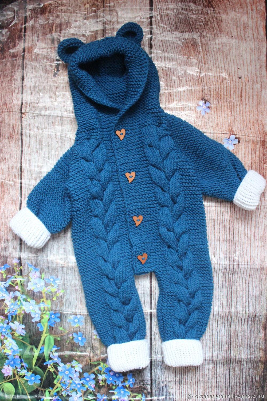 "Unisex Clothing handmade. Livemaster - handmade. Buy Вязаный комбинезон для новорожденных ""Мишка"" 62 р.Handmade, dark blue, gradient"