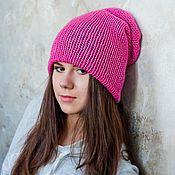 Аксессуары ручной работы. Ярмарка Мастеров - ручная работа Розовая с серым шапка. Handmade.