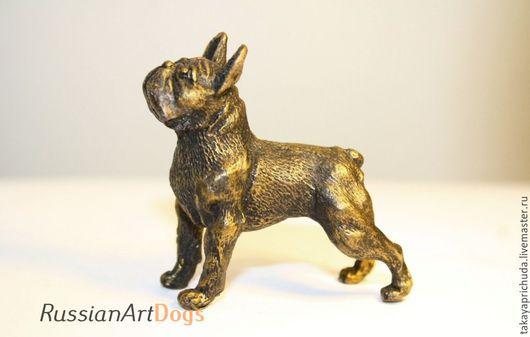 Статуэтки ручной работы. Ярмарка Мастеров - ручная работа. Купить Французский бульдог   - статуэтка (оловянная фигурка собаки). Handmade. статуэтка